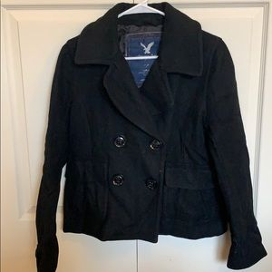 Black American eagle pea coat